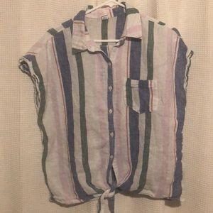 Old Navy Linen Blend Button Down Shirt